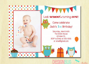 Owl Birthday Boy Invitation - First Birthday - 1, 2, 3 Year Old - 1st ...