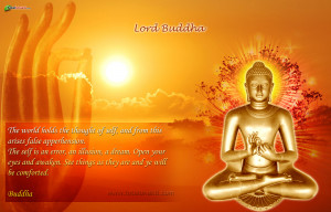 Lord Buddha blessing wallpaper, red and orange color
