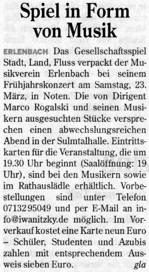 Konzertankündigung Heilbronner Stimme
