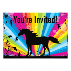 Unicorn and Fairies Rainbow Birthday Invitation
