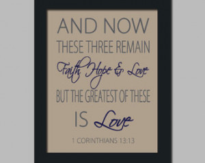 Bible Verse Faith Hope Love Inspirational Quote Print Wedding Newlywed ...