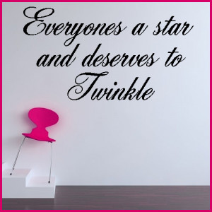 EVERYONE'S A STAR GIRLY WORD ART ~ Wall sticker / decals
