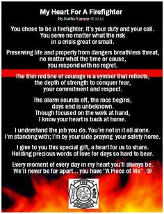 My Heart for a Firefighter Poem Card | Inseparable Treasures More
