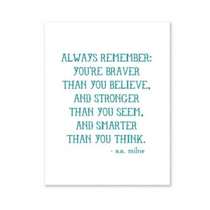 ... starting. Always Remember /// A.A. Milne quote print via etsy $6.00