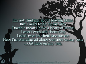 On My Own - Alanis Morissette Song Lyric Quote in Text Image