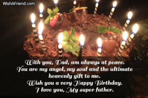... to me. Wish you a very Happy Birthday. I love you, My super father