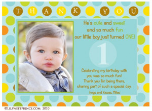 Trendy Dots First Birthday Boy Thank You Card