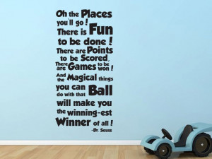 ... Oh the places you'll go Dr Seuss quote wall decal. $34.00, via Etsy