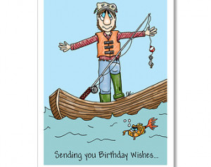 ... Birthday card for man, man fishing, Fishing card, Big Fish Tale, fish