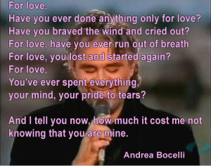 Picture Quotes by Andrea Bocelli Quotes Lover