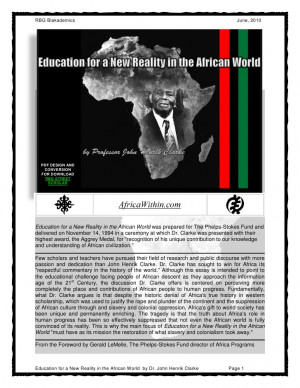 ... for a New Reality in the African World by Dr. John Henrik Clarke