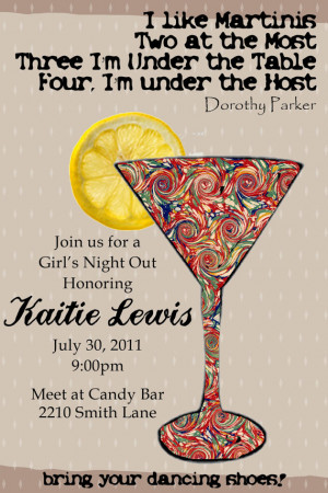 Bachelorette/Girls Night Out Martini Invitation-Print-Your-Own ...