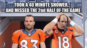 ... 40 minute shower... #oldspice #broncos #manning #welker #funny #nfl
