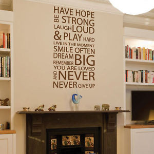 ... Family Love Have Hope Art Wall Quotes / Wall Stickers/ Wall Decals