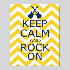 Keep Calm and Rock On - 8x10 Chevron Nursery Quote Print - Guitar ...