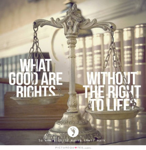 What good are rights without the right to life Picture Quote #1