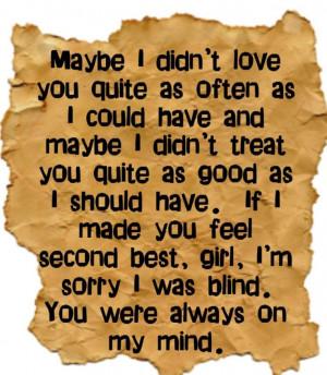 Willie Nelson - Always on My Mind - song lyrics, music lyrics, song ...