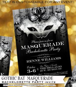 Halloween Bachelorette Party Invitations Gothic Bat Masquerade style ...