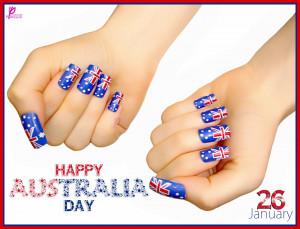 Happy Australia Day Flag On Girl Nails Australia Punchy Wishes and ...