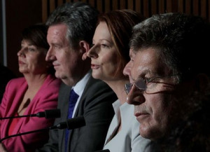 Left to right: Queensland Premier Anna Bligh, NSW Premier Barry O ...
