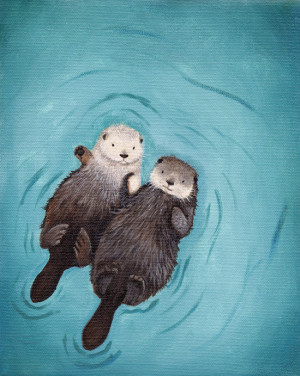 Otters Holding Hands Otterly Romantic Art print of original otter ...