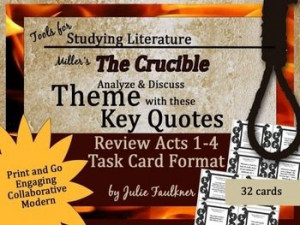 The Crucible Quote and Theme Matching Task Cards Set {Modern ...