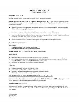 Medical Office Assistant Job Description