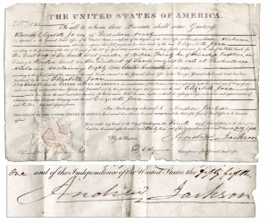 Andrew Jackson Indian Removal Act Document Signed by andrew jackson