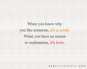 ... Quote About When You Know Why You Like Someone Its A Crush When You