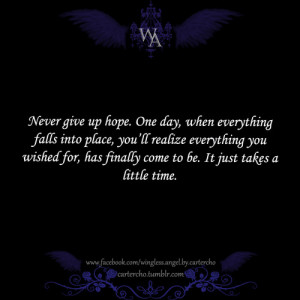 up hope. One day, when everything falls into place, you'll realize ...