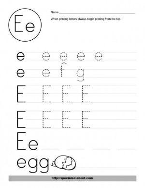 Free Worksheet Activities for the Letter E