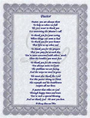 inspirational poems for pastors Pastor Appreciation Poems.