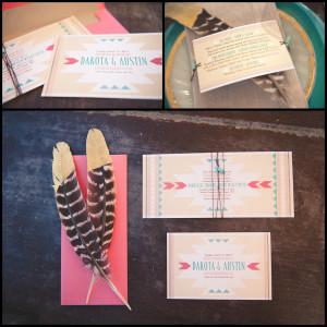 Native American Wedding Inviation | Feather & Stone | Coral & Turqoise