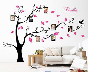 ... Tree-Bird-Photo-Frame-Vinyl-Nursery-Wall-Quotes-Wall-Stickers-Decal-UK