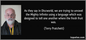 As they say in Discworld, we are trying to unravel the Mighty Infinite ...