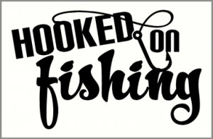 ... Wall Art & Quotes Hooked on Fishing Wall Decal Quote with Fishing Hook