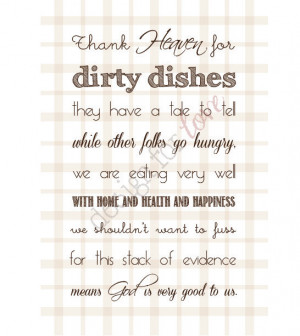 Thank Heaven for Dirty Dishes - Printable File