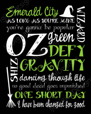 Printable Wicked Musical Digital Subway Art Typography Poster ...