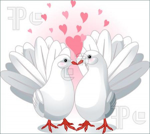 Illustration of Illustration of two white doves pressing together and ...