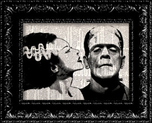 Frankenstein- Monsters In Love - Geekery Vintage Dictionary Print Book ...