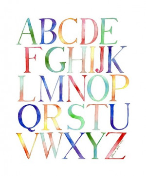 Alphabet Watercolor Painting - Typography Kids Room Watercolor Art ...