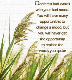 Don't mix bad words with your bad mood!