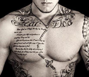 Tattoo Schrift auf die Brust - Jetzt oder Später
