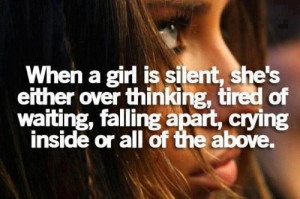 cute, girl, girls feelings, quote, sad, silence, text, thinking