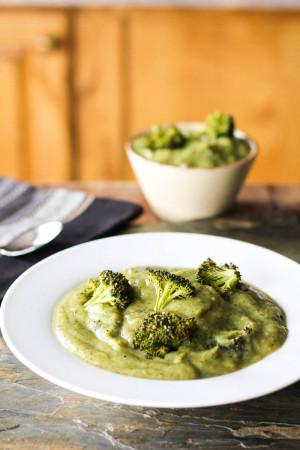 Vegan Cream of Roasted Broccoli and Cauliflower Soup-6