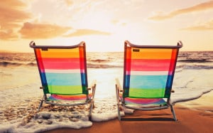 Chairs On Summer Sunset Beach | 1920 x 1200 | Download | Close
