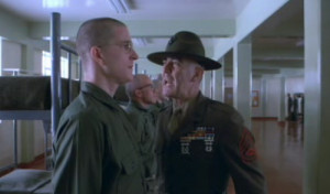 Lee Ermey as Gunnery Sgt. Hartman doing his best to offer a warm ...
