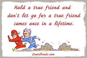 Hold a true friend and don't let go for a true friend comes once in a ...