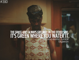 Rapper, big sean, quotes, sayings, greener, grass, life
