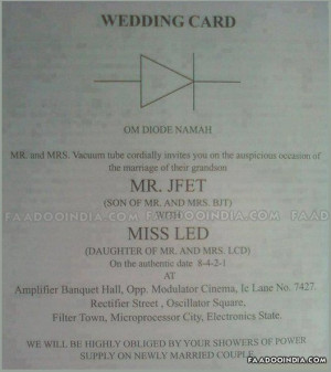 Funny wedding card of an electrical engineer
